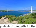 Shimotsui Seto Ohashi Bridge in fresh green 40917969