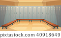 Vector empty dressing room with closed lockers 40918649