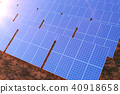 3D rendering solar power generation technology. Alternative energy. Solar battery panel modules with 40918658