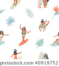 Summertime seamless pattern with pretty girls 40919752
