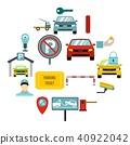 Parking icons set, flat style 40922042
