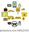 Taxi icons set, flat style 40922432