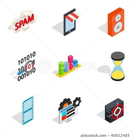 Web setup icons set, isometric style 40922485