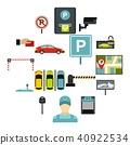 Car parking icons set, flat style 40922534