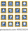 Hotel service icons set blue square vector 40923024