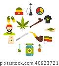 Rastafarian icons set, flat style 40923721