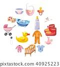 Baby born icons set, cartoon style 40925223
