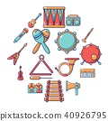 Musical instruments icons set, cartoon style 40926795