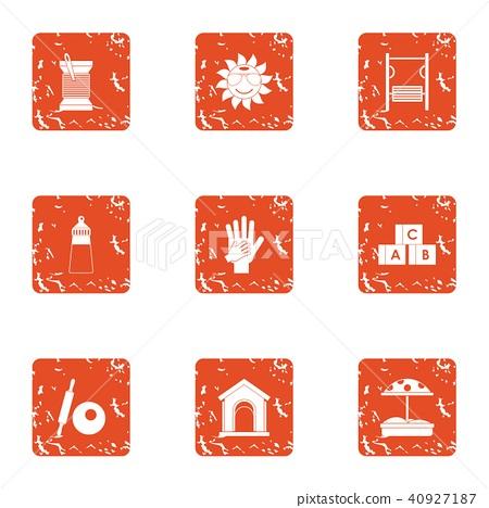 Sandbox icons set, grunge style 40927187