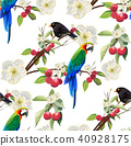 Tropical trendy seamless pattern with parrot bird. 40928175