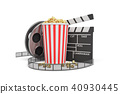 3d rendering of a video reel, popcorn bucket and a clapperboard on a white background. 40930445