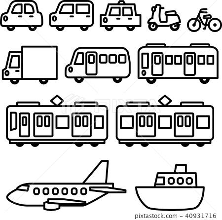 Vehicle line drawing illustration set 40931716