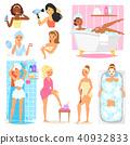 Woman bathing in bathroom vector beautiful girl character in bathrobe cleaning teeth and washing in 40932833