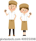 Pop cafe shop clerk or baker's male and female pair guts pose 40935098
