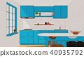 厨房手绘风格室内空间电脑绘图3D 40935792
