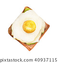 Breakfast toast Brown bread and fried egg. 40937115