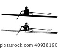 rower skaetch and silhouette 40938190