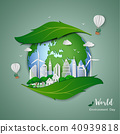 clean city on leaf shape abstract background 40939818