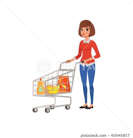 Cartoon Woman Standing Near Supermarket Cart Stock Illustration 40940857 Pixta