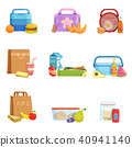 Flat vector set of school lunch boxes and bags with food and drinks. Tasty meal for kids 40941140