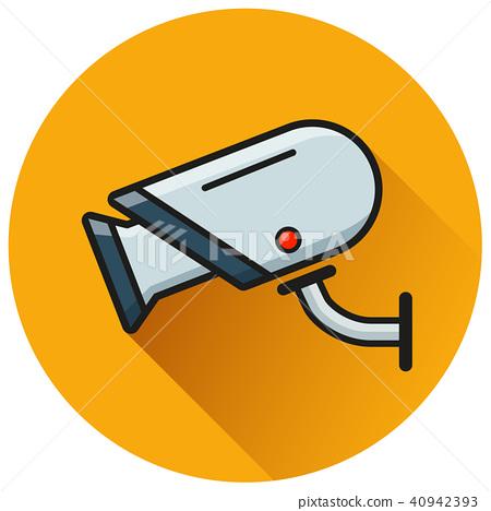 video camera circle flat icon 40942393
