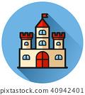 castle circle blue flat icon 40942401