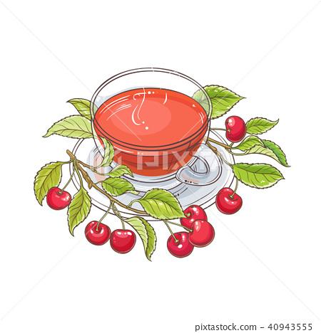 cherry tea illustration 40943555
