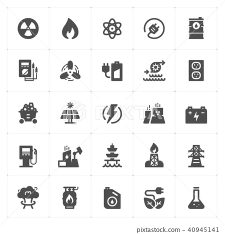 Icon set - energy and power filled icon style 40945141