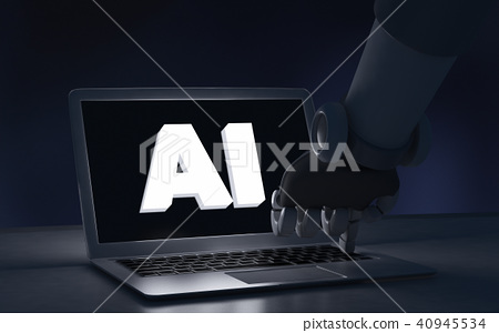 Robot finger touching a laptop computer with AI 40945534