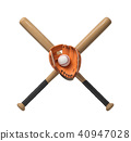 3d rendering of two wooden baseball bats with a wrapped handle, a glove and a ball itself on a white 40947028