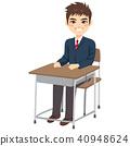 Student Boy Sitting Desk 40948624