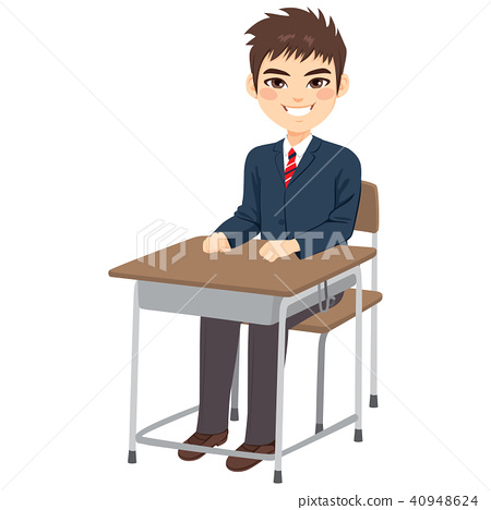 Student Boy Sitting Desk 40948624
