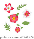 Paper cut style of  bright flowers. 40948724