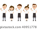 Pointing eateries' waiters and waitress groups pointing 40951778