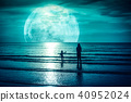 Super moon. Colorful sky with cloud and full moon 40952024