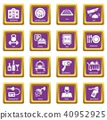 Hotel service icons set purple square vector 40952925