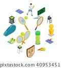Tennis icons set, isometric 3d style 40953451