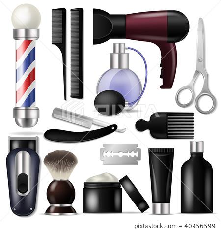 Barber vector barbershop equipment or hairdresser tools for haircutting illustration shaving-set of 40956599