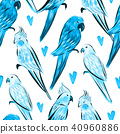 Seamless pattern with bright painted parrots  40960886