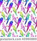 Seamless pattern with bright painted parrots  40960889