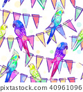 Seamless pattern with bright painted parrots  40961096