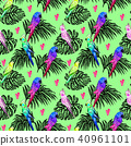 Seamless pattern with bright painted parrots  40961101