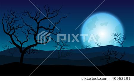silhouette rainless landscape;blue moon on desert  40962191