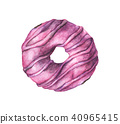 Watercolor donuts isolated on a white background 40965415