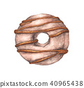Watercolor donuts isolated on a white background 40965438