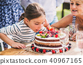 Family celebration or a garden party outside in the backyard. 40967165