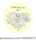 Flowers Sketches Composition. Botanical elements 40969475
