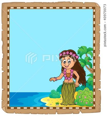 Parchment with Hawaiian theme dancer 40970073