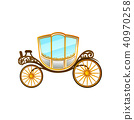 Royal horse-drawn carriage with big cab and wheels. Vintage passengers transport. Flat vector 40970258