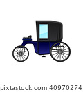 Vintage carriage with blue cab and big wheels. Antique wagon for passengers. Flat vector element for 40970274